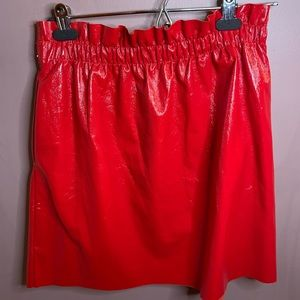 Red: Zara faux leather mini skirt size Large